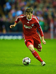 LIVERPOOL, ENGLAND - Wednesday, September 16, 2009: Liverpool's Emiliano Insua in action against Debreceni during the UEFA Champions League Group E match at Anfield. (Photo by David Rawcliffe/Propaganda)