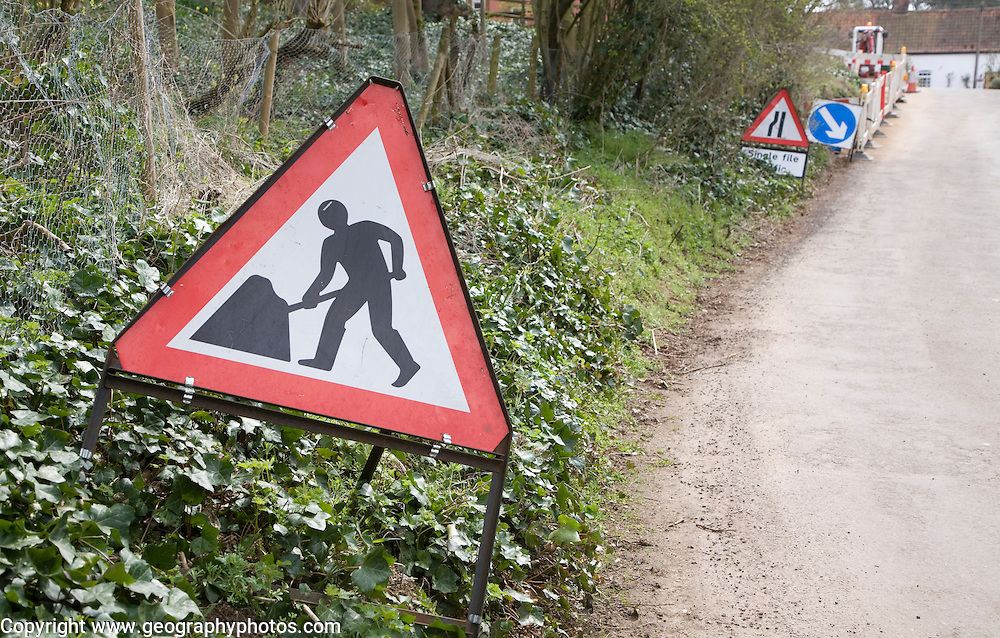 Men at work road signs, UK