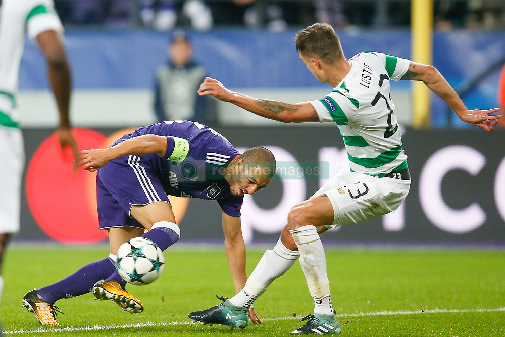 September 27, 2017 - Brussels, BELGIUM - Anderlecht's Sofiane Hanni and Celtic's Mikael Lustig fight for the ball during the second game in the group stage (Group B) of the UEFA Champions League competition between Belgian soccer team RSC Anderlecht and Scottish Celtic FC, Wednesday 27 September 2017 in Brussels. BELGA PHOTO BRUNO FAHY (Credit Image: © Bruno Fahy/Belga via ZUMA Press)