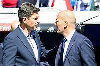 Real Madrid's coach Zinedine Zidane and Deportivo Alaves's coach Mauricio Pellegrino during La Liga match between Real Madrid and Deportivo Alaves at Stadium Santiago Bernabeu in Madrid, Spain. April 02, 2017. (ALTERPHOTOS/BorjaB.Hojas)