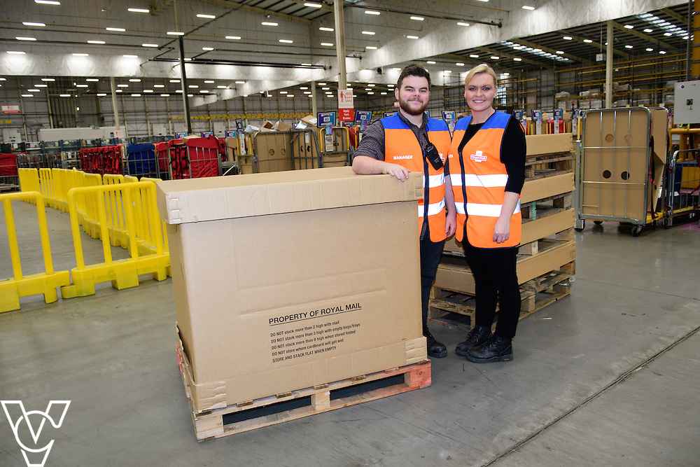 Stock / generic photographs taken at the Royal Mail's Yorkshire Distribution Centre, Normanton.  <br /> <br /> Managers Will Holbrook and Emma Smith with a CRSC<br /> <br /> Picture: Chris Vaughan Photography<br /> Date: November 15, 2016