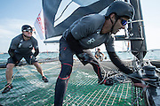 On board the Emirates Team New Zealand Extreme 40 on day three of the Land Rover Extreme Sailing Series regatta in Qingdao, China. 3/5/2014