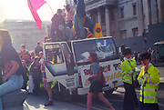 Ravers protesting from a truck at the  First Criminal Justice March. Trafalgar Square, London, UK, 1st of May 1994.