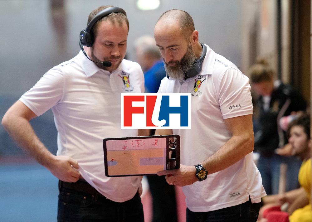 BERLIN - Indoor Hockey World Cup<br /> South Africa - Belgium<br /> foto: de CHAFFOY Alexandre and BERGEZ Maxime<br /> WORLDSPORTPICS COPYRIGHT FRANK UIJLENBROEK