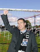Ayr boss Brian Reid leads the celebrations - Brechin City v Ayr United, IRN BRU Scottish Football League 1st/2nd Division Play Off Final 2nd leg at Glebe Park..© David Young Photo.5 Foundry Place.Monifieth.Angus.DD5 4BB.Tel: 07765252616.email: davidyoungphoto@gmail.com.http://www.davidyoungphoto.co.uk