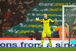 STOKE-ON-TRENT, ENGLAND - Boxing Day Wednesday, December 26, 2012: Liverpool's goalkeeper Jose Reina looks dejected as Stoke City score the first equalising goal to level the scores at 1-1 during the Premiership match at the Britannia Stadium. (Pic by David Rawcliffe/Propaganda)