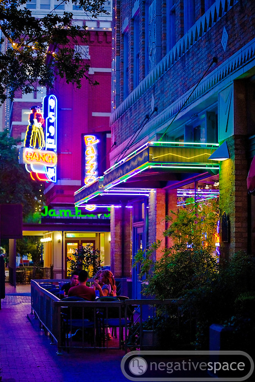 Neon lights of Pazzo restaurant, Sundance Square, Fort Worth, Texas
