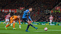 STOKE-ON-TRENT, ENGLAND - Monday, April 18, 2016: Tottenham Hotspur's Dele Alli misses an open goal against Stoke City during the FA Premier League match at the Britannia Stadium. (Pic by David Rawcliffe/Propaganda)