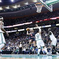 18 January 2013: Chicago Bulls shooting guard Marco Belinelli (8) takes a jumpshot over Boston Celtics power forward Jared Sullinger (7) during the Chicago Bulls 100-99 overtime victory over the Boston Celtics at the TD Garden, Boston, Massachusetts, USA.