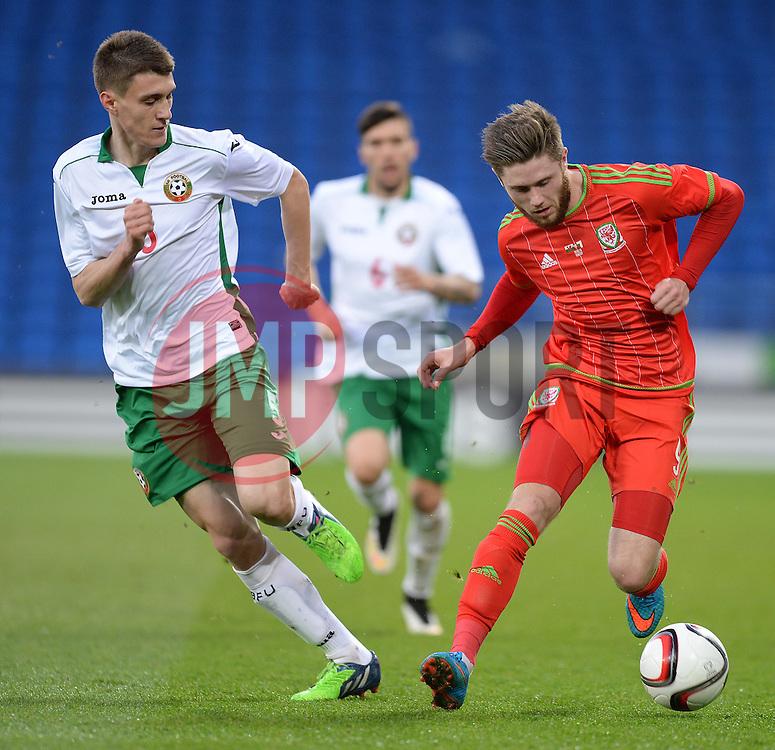 Wes Burns of Wales u21s (Bristol City) in action. - Photo mandatory by-line: Alex James/JMP - Mobile: 07966 386802 - 31/03/2015 - SPORT - Football - Cardiff - Cardiff City Stadium - Wales v Bulgaria - U21s International Friendly