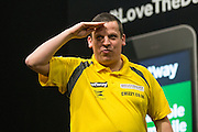 Dave Chisnall takes to the stage ahead of his match with Peter Wright  during the Premier League Darts  at the Motorpoint Arena, Cardiff, Wales on 31 March 2016. Photo by Shane Healey.