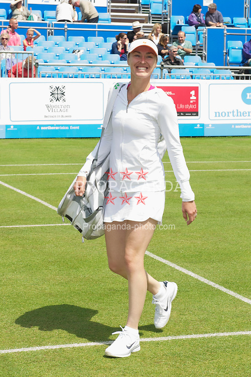 LIVERPOOL, ENGLAND - Thursday, June 16, 2011: Martina Hingis (SUI) during day one of the Liverpool International Tennis Tournament at Calderstones Park. (Pic by David Rawcliffe/Propaganda)