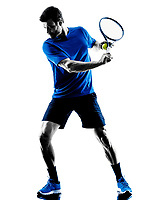one caucasian man playing tennis player in studio silhouette isolated on white background
