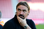 Norwich City manager Daniel Farke strokes his beard on arrival ahead of the Premier League match between Bournemouth and Norwich City at the Vitality Stadium, Bournemouth, England on 19 October 2019.