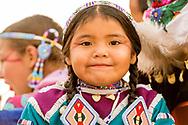 Crow Fair, Parade, Crow Indian Reservation, Montana, young girl