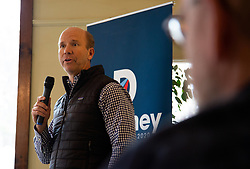 March 29, 2019 - Peterborough, New Hampshire, USA - John Delaney, US Congresman, visits the Bagel Mill coffee shop in Peterborough New Hampshire. Delaney is one of the many Democratic candidates running for the 2020 presidential election. (Credit Image: © Allison Dinner/ZUMA Wire)