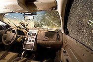 A look to the inside of a car that tow man was assassinated at the city of Juarez. .Saturday December 20,2008.