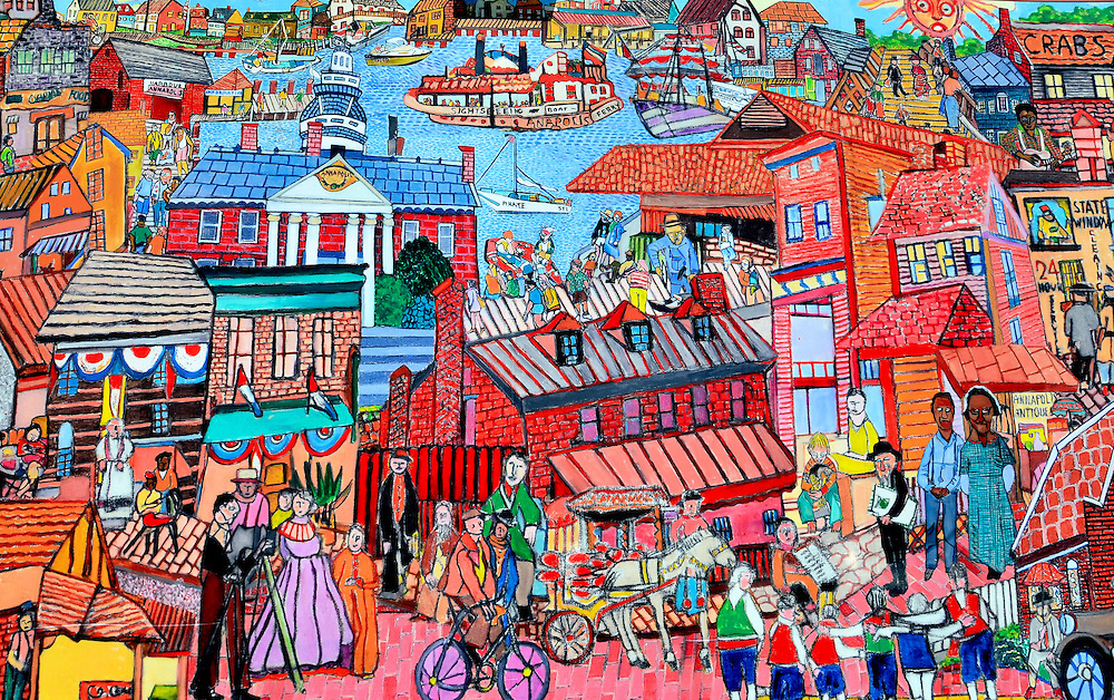 Annapolis Landmarks Mural in Annapolis, Maryland<br /> This wall mural of landmarks in Annapolis, Maryland, is located along &ldquo;Ego Alley,&rdquo; a nickname given to the city dock area because of the expensive yachts seen floating around the Chesapeake Bay.  The quaint town of 39,000 hosts numerous 18th century homes and buildings, plus is the state capital and home to the U.S. Navy Academy.  It also caters to lots of summer tourists from nearby Baltimore and Washington, D.C.