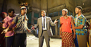 A Season in the Congo <br /> by Aime Cesaire<br /> directed by Joe Wright  and Sidi Larbi Cheraoui <br /> production design by Lizzie Clachan<br /> at the Young Vic Theatre, London, Great Britain <br /> press photocall <br /> 11th July 2013 <br /> <br /> Chiwetel Ejiofor as Patrice Lumumba<br /> Brian Bovell as Bakongo Tribesman <br /> Joseph Mydell as Batetela tribesman <br /> Kabongo Tshisensa as Likembe player<br /> Kaspy N'Dia as musician <br /> Joan Iyiola as Pauline Lumumba <br /> <br /> <br /> Photograph by Elliott Franks