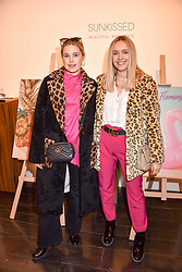 Left to right, bloggers Alice Minns and Olivia Minns at the Sunkissed Cosmetics Launch,  15 Bateman Street, Soho, London England. 17 January 2018.