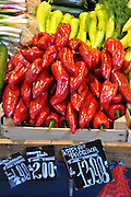 Paprika (Peppers) at a Market Stall. Photographed in Budapest, Hungary