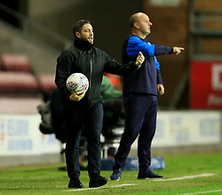 Bristol City manager Lee Johnson and Wigan Athletic manager Paul Cook shout instructions - Mandatory by-line: Matt McNulty/JMP - 21/09/2018 - FOOTBALL - DW Stadium - Wigan, England - Wigan Athletic v Bristol City - Sky Bet Championship