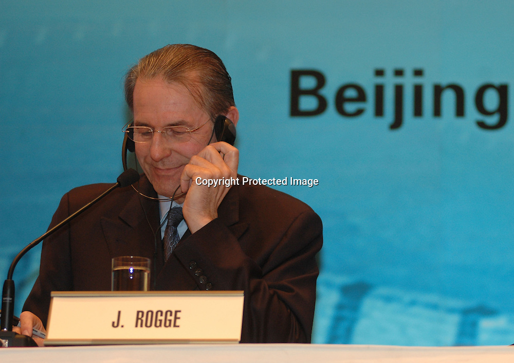 Apr 25, 2007, Beijing, Jacques Rogge, the eighth IOC President, attends a press conference.