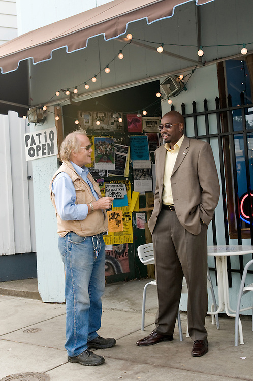 Carl Brown and Dr. Ricky L. Jones discuss racial issues  while walking along Bardstown Road, Wednesday, Oct. 1, 2008 in Louisville, Ky. (Photo by Brian Bohannon/www.brianbohannon.com)