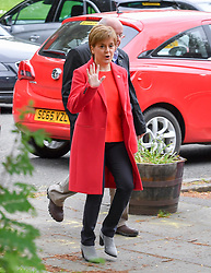 SNP leader Nicola Sturgeon arrives at her local polling station in Glasgow to cast her vote in the European elections.<br /> <br /> © Dave Johnston / EEm