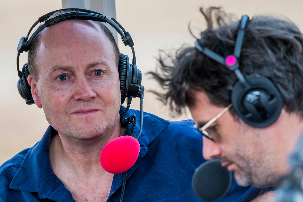 Henham Park, Suffolk, 20 July 2019. Damian Green MP appears on a live broadcast of the John Pinaar show on BBC Radio 5 Live. The 2019 Latitude Festival.