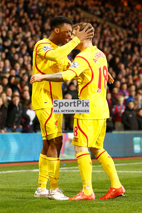 Liverpool FW Daniel Sturridge 15 and Liverpool DF Alberto Moreno 18 celebrate Liverpools first goal | Crystal Palace v Liverpool FC - Selhurst Park - FA Cup 5th Round - 14/02/2015  | Andy Walter (c) Sportpix.org