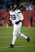 Jacksonville Jaguars defensive tackle Marcell Dareus (99) chases across the field during the week 14 regular season NFL football game against the Tennessee Titans on Thursday, Dec. 6, 2018 in Nashville, Tenn. The Titans won the game 30-9. (©Paul Anthony Spinelli)