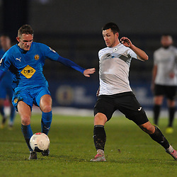 TELFORD COPYRIGHT MIKE SHERIDAN Aaron Williams battles with Callum Maycock during the FA Trophy Round 1 fixture between AFC Telford United and Leamington at the New Bucks head Stadium on Tuesday, December 17, 2019.<br /> <br /> Picture credit: Mike Sheridan/Ultrapress<br /> <br /> MS201920-034