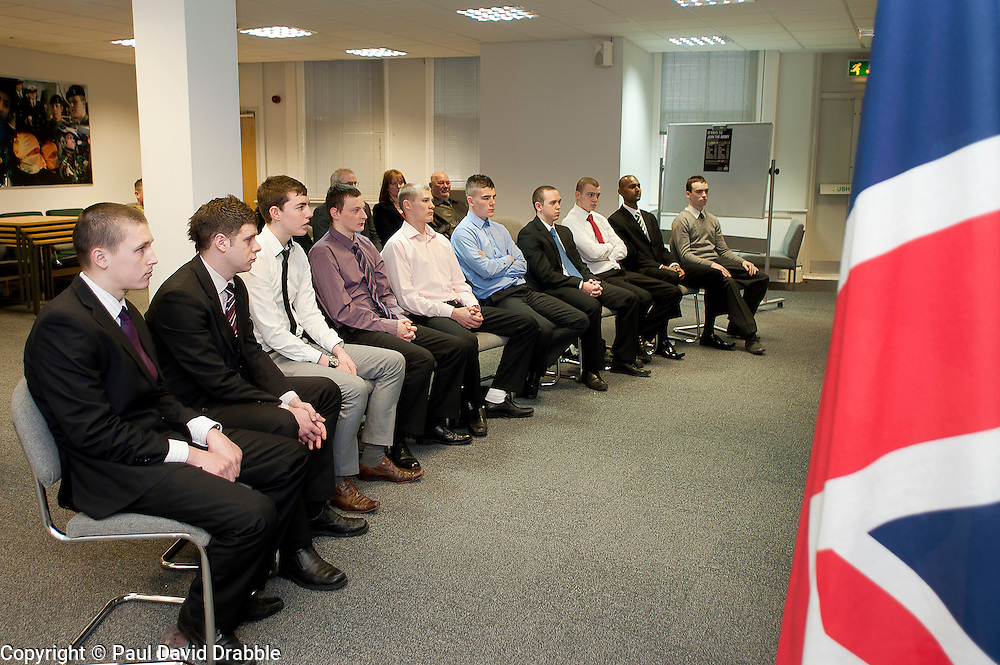 10 young men from Sheffield, Luke oliver, Sam Stocks, Joshua Bradley, Issac Richardson, Nicolai De Sliva, John Richards, Aiden Horsefield, James Badloe, Jake Waters and Charlie Rains wait to take their British Army Oath of Allegiance and join the Yorkshire Regiment at Sheffield AFCO on Monday with their certificates. ..www.pauldaviddrabble.co.uk..20th February 2012 -  Image © Paul David Drabble