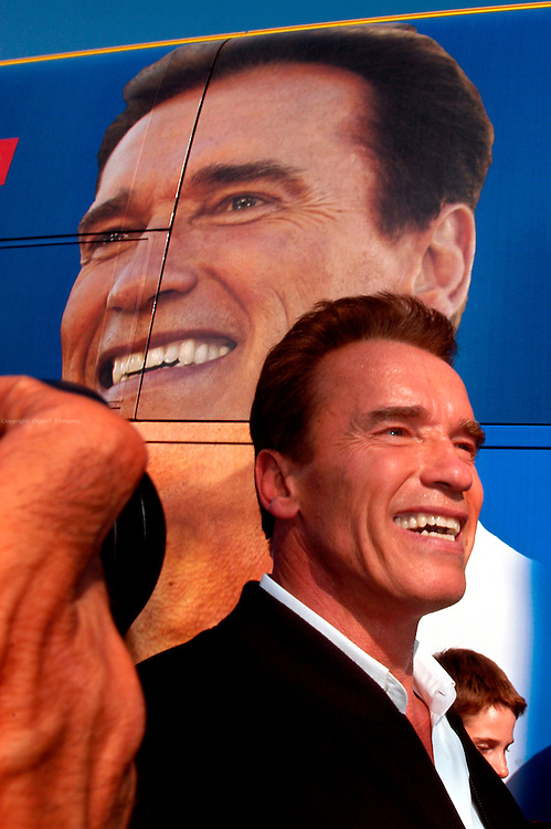 """Bakersfield, CA, USA, Oct. 3rd 2003: Arnold Schwarzenegger outside his """" Total Recall"""" Campaign bus during his """"California Comeback Express"""" tour throughout California in his campaign to perusade the californians to vote for recall of Gray Davis and elect the actor as the new Governor of California. Photo: Orjan F. Ellingvag/ Dagbladet/ Getty"""