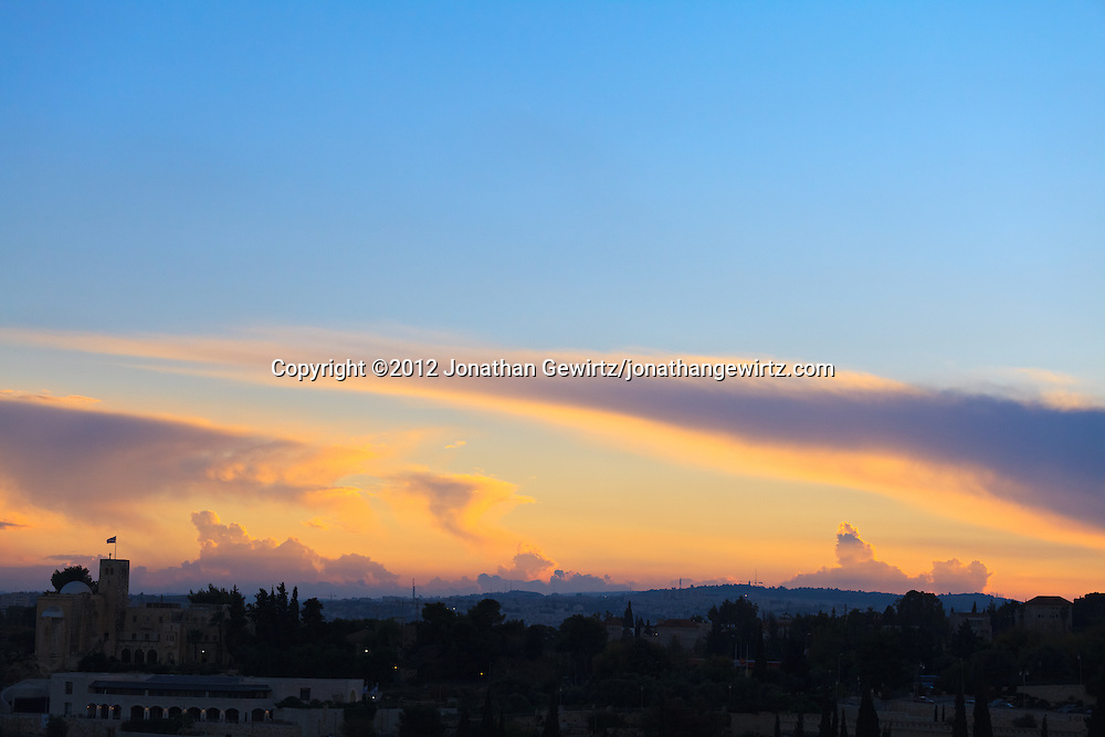 Saint Andrews Scottish church and the hills around Jerusalem at dusk. WATERMARKS WILL NOT APPEAR ON PRINTS OR LICENSED IMAGES.