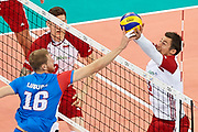 Poland, Warsaw - 2017 August 24: (R) Dawid Konarski from Poland blocks against (L) Drazen Luburic from Serbia during LOTTO EUROVOLLEY POLAND 2017 - European Championships in volleyball at Stadion PGE Narodowy on August 24, 2017 in Warsaw, Poland.<br /> <br /> Mandatory credit:<br /> Photo by &copy; Adam Nurkiewicz<br /> <br /> Adam Nurkiewicz declares that he has no rights to the image of people at the photographs of his authorship.<br /> <br /> Picture also available in RAW (NEF) or TIFF format on special request.<br /> <br /> Any editorial, commercial or promotional use requires written permission from the author of image.