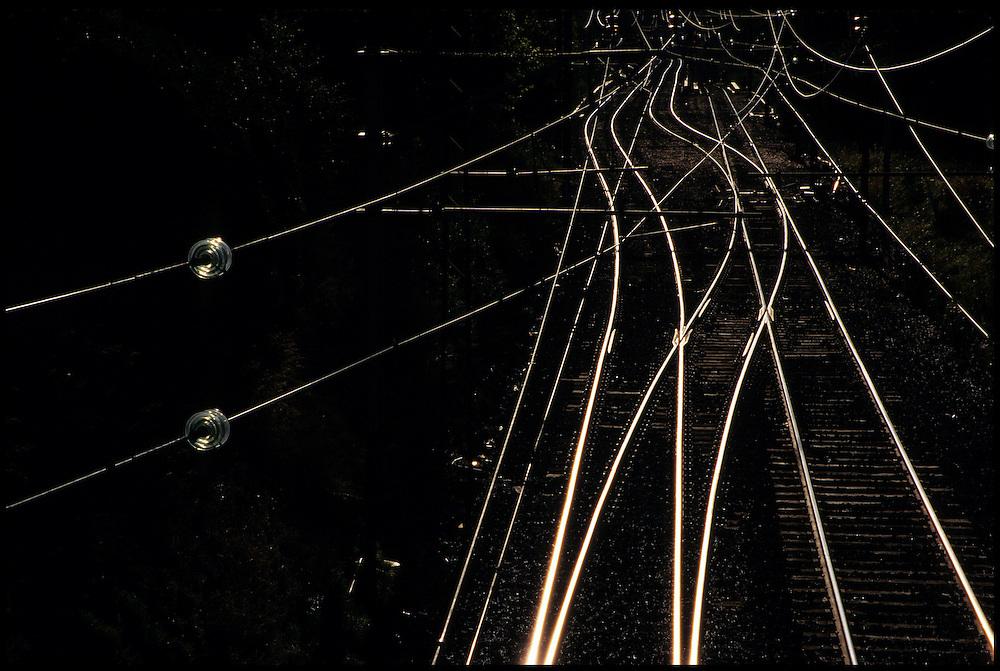 Australia, Sydney, train tracks glowing in sunlight