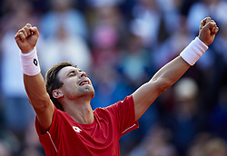 April 8, 2018 - Valencia, Valencia, Spain - David Ferrer of Spain celebrates the victory in is match against Philipp Kohlschreiber of Germany during day three of the Davis Cup World Group Quarter Finals match between Spain and Germany at Plaza de Toros de Valencia on April 8, 2018 in Valencia, Spain  (Credit Image: © David Aliaga/NurPhoto via ZUMA Press)