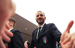 Leonardo Bonucci of Italy greets fans on arrival at the Etihad Stadium - Mandatory by-line: Matt McNulty/JMP - 23/03/2018 - FOOTBALL - Etihad Stadium - Manchester, England - Argentina v Italy - International Friendly