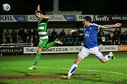 Andy Cook (Tranmere Rovers) scores Tranmere Rovers' third goal. 3-1 to the visitors during the Vanarama National League match between North Ferriby United and Tranmere Rovers at Eon Visual Media Stadium, North Ferriby, United Kingdom on 21 March 2017. Photo by Mark P Doherty.