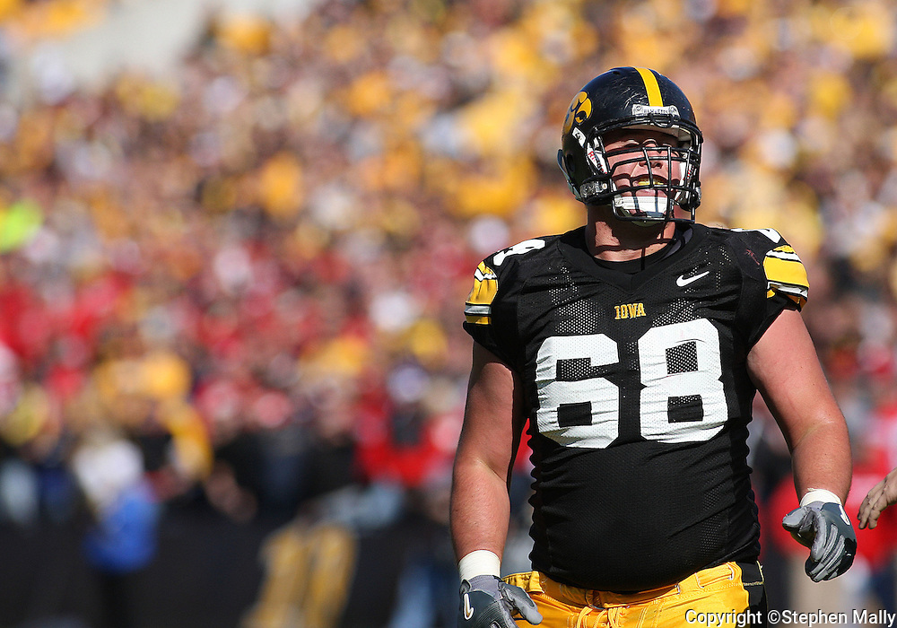 18 OCTOBER 2008: Iowa offensive lineman Andy Kuempel (68) in the second half of an NCAA college football game against Wisconsin, at Kinnick Stadium in Iowa City, Iowa on Saturday Oct. 18, 2008. Iowa won 38-16.