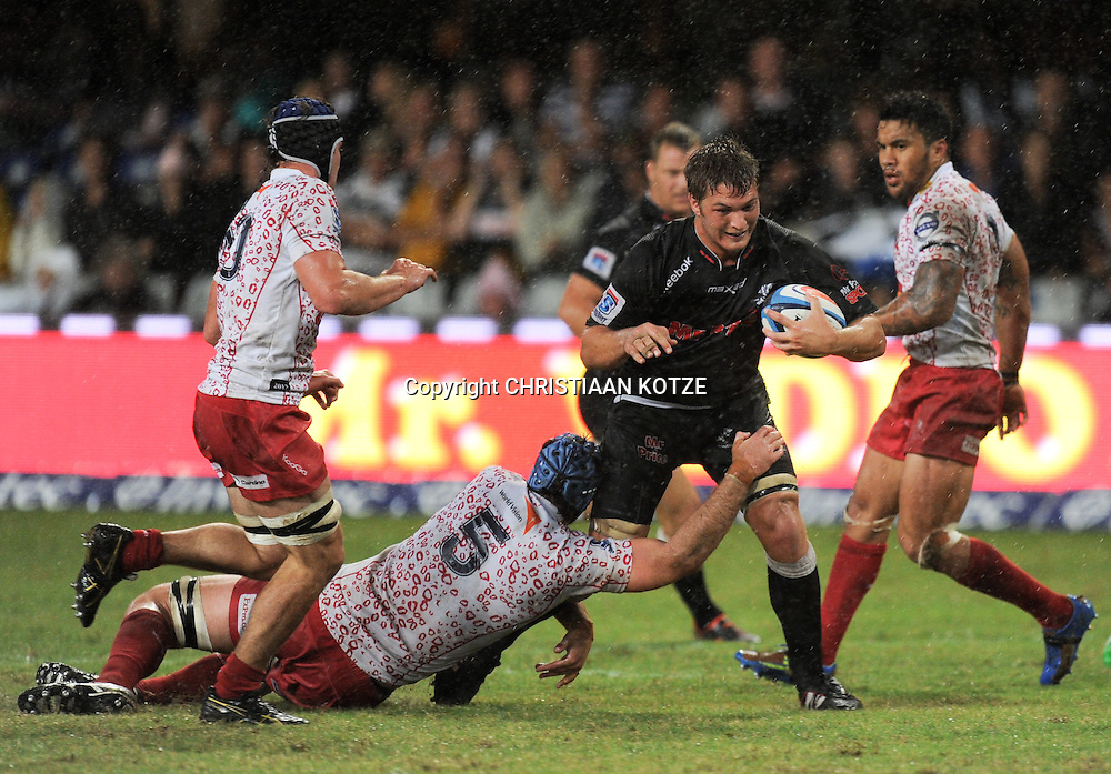 James Horwill(C) of the Reds, Jandre Marais of the Mr Price Sharks, Rod Davies of the Reds.<br /> &copy;Backpagepix