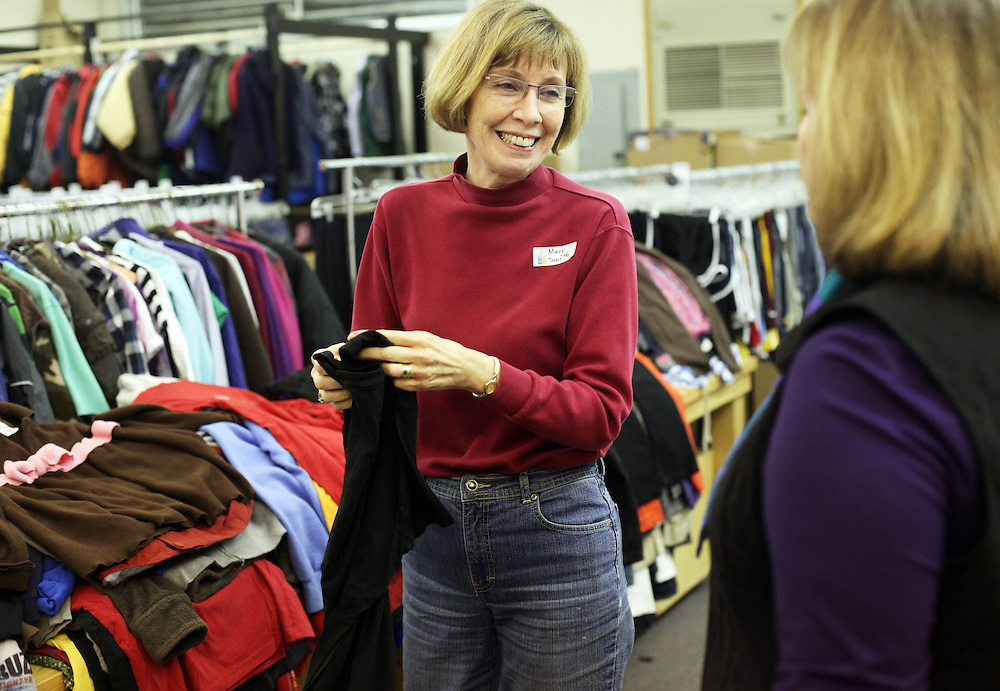 Mary Smith in the sorting room. The Beaverton School District has a Clothes Closet for students in need. Photographed Wednesday, Jan. 25, 2011.