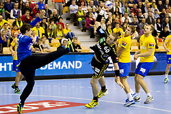 Kim Ekdahl Du Rietz #60 of Rhein-Neckar Lowen during handball match between RK Celje Pivovarna Lasko (SLO) vs Rhein-Neckar Lowen (GER) in 3rd Round of Group A of EHF Champions League 2013/14 on October 12, 2013 in Arena Zlatorog, Celje, Slovenia. (Photo By Urban Urbanc / Sportida)