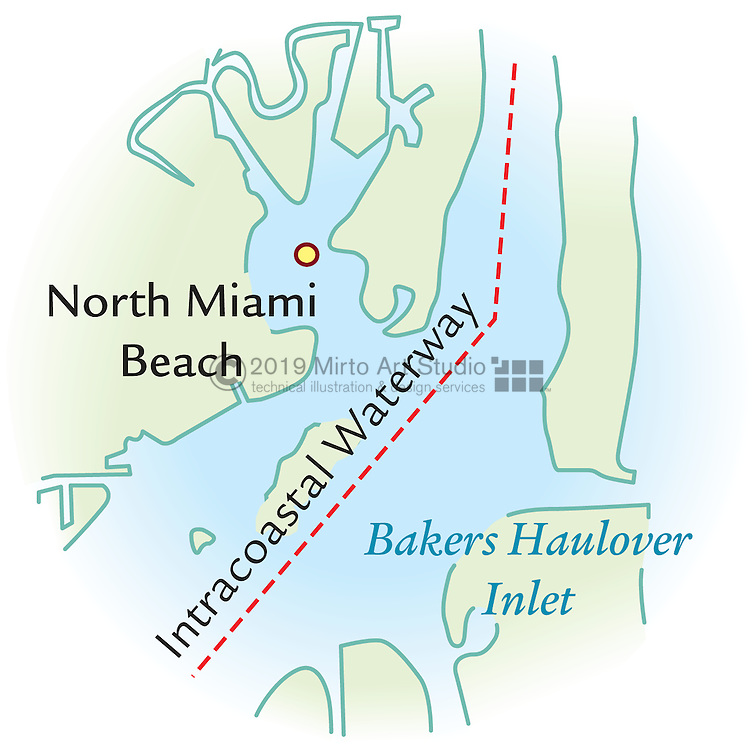 Vector map of Miami, Florida Gunkhole