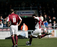 Photo: Marc Atkins.<br /> <br /> Northampton Town v Rochdale. Coca Cola League 2. 08/04/2006. Jamie Hand of Northampton Town goes close with a free kick.