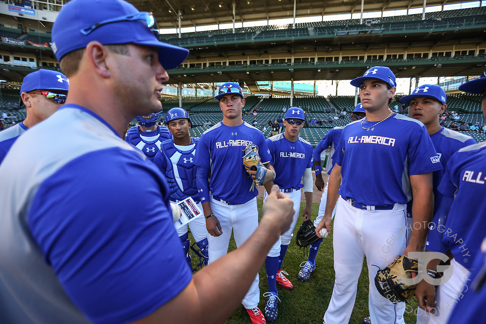 CHICAGO, IL - JULY 29:  Home Run Derby festivities at the Under Armour All-America Game at Wrigley Field on Saturday, July 29, 2017 in Chicago, Illinois. (Photo by J. Geil/MLB Photos via Getty Images) *** Local Caption ***