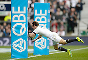 Twickenham, United Kingdom, England's Ben FODEN, diving between the posts during his run away disallowed try  during the 2013 QBE  AutumnRugby International, England vs New Zealand, played  Saturday  16/11/2013 at the RFU Stadium Twickenham,<br /> England. [Mandatory Credit: Peter Spurrier/Intersport<br /> Images}