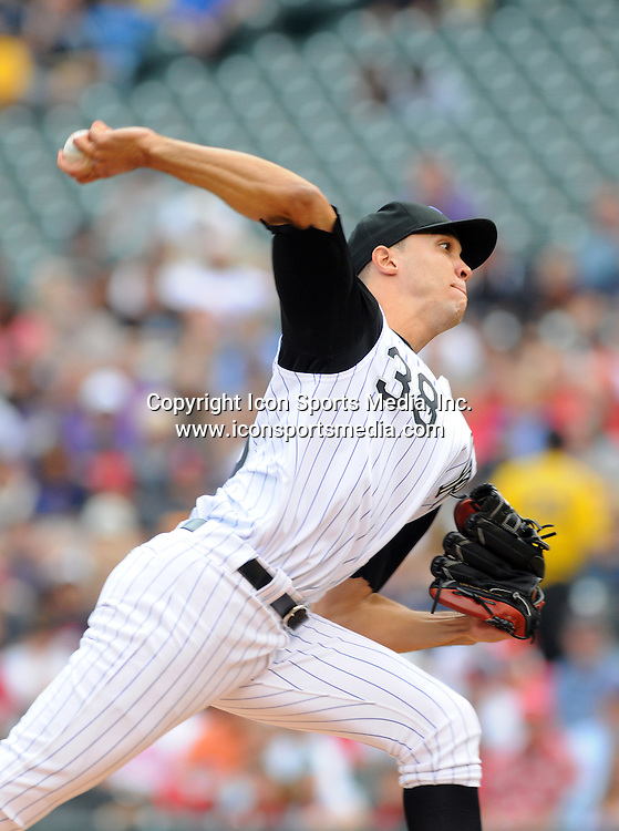 08 JULY 2010: Colorado Rockies starting pitcher Ubaldo Jimenez (38) during a regular season Major League Baseball game between the Colorado Rockies and the St. Louis Cardinals at Coors Field in Denver, Colorado. The Rockies beat the Cardinals 4-2.  *****For Editorial Use Only*****